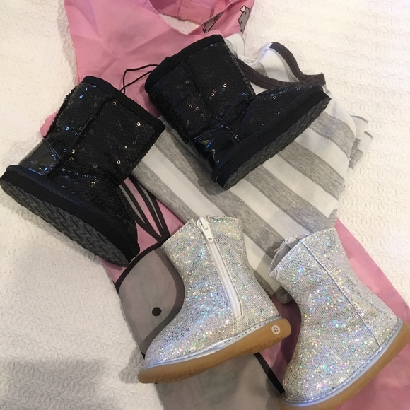 d9a9143e8fc Baby Boots, sequins & sparkles!! — 2 pairs for $12